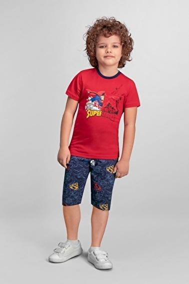 Superman Superman Lisanslı Kırmızı Erkek Çocuk Kapri Takım Kırmızı